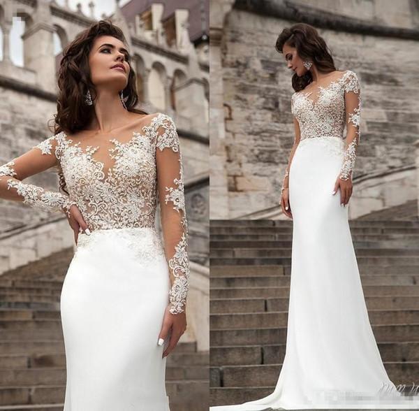 top popular Sexy Sheer Long Sleeves Lace Wedding Dresses 2018 Milla Nova Beach A Line Sweep Train Button Back Bohemian Wedding Dress Bridal Gowns 2019