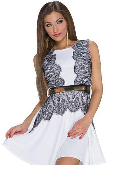 Robe Ete 2015 Vestidos Femininos Ladies Summer Red/White Eyelash Lace Trim Belted Sexy Club Skater Dress Robe Femme LC22132 FG1511