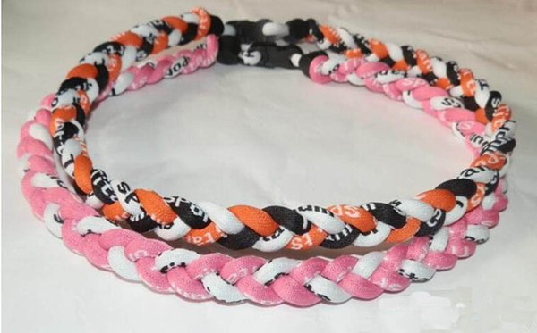 Wholesale -titanium braided 3 ropes3 Weave necklace Necklaces tornado SPORTSbaseball new tornado pendant healthy Fashion body jewelry
