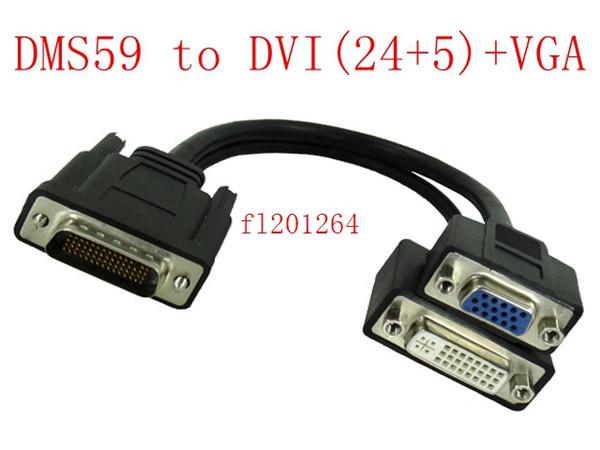 50pcs / lot liberan el envío DMS 59 al cable de alimentación de la tarjeta gráfica de video DVI + VGA DMS 59 al adaptador de video VGA 15P de DVI (24 + 5)