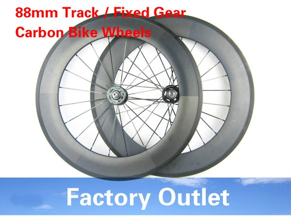 23mm width 700c bicycle wheels track 88mm clincher carbon track wheel fixed gear single speed wheelset with hub Novatec 165/166