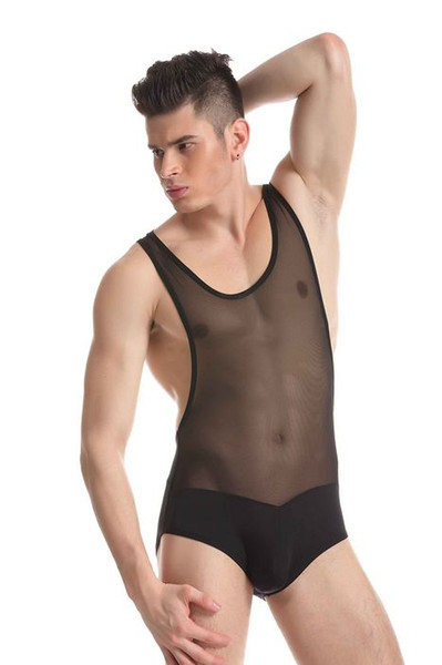 best selling 2017 New Men Underwear Body Wear JQK Brand Sexy Undershirts Bodysuits Mens Body Suit Sexy Sheer See Through Sheer Gay Wear 328