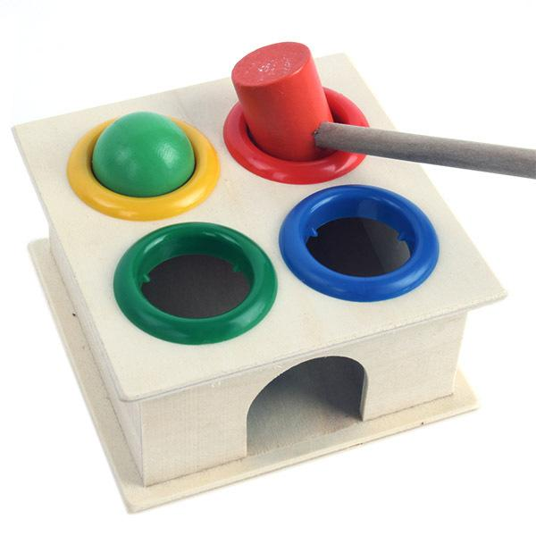 Hammering Wooden Ball+Hammer Box Children Early Learning Educational Toys Wholesale Free Shipping