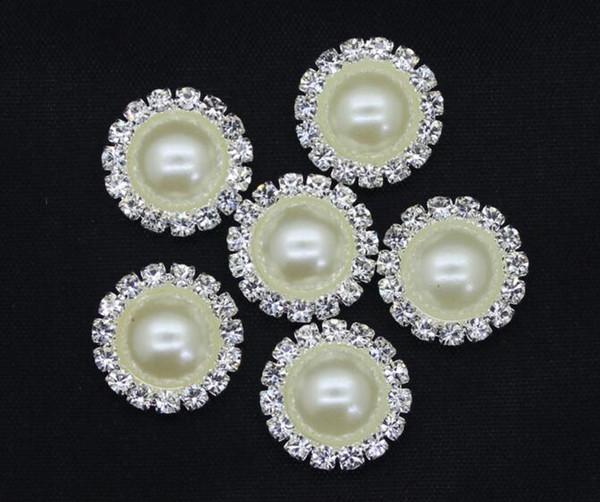 la vendita calda 100pcs avorio capelli piatti bottoni strass posteriori bottoni metallici perla matrimonio abbellimento arco accessorio dei capelli fai da te PB-01