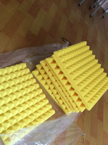 top popular Big size 50x50x5cm Yellow Acoustic Studio Soundproofing Foam Sound Absorption Sponge Pyramid Wall Panels for Music Rooms Noise Reduction 2021