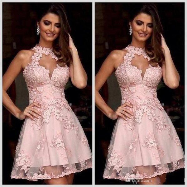 Semi Formal Cocktail Dresses 2018 New Illusion High Neck Blush Pink ...