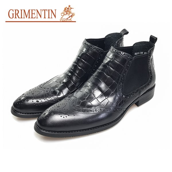 GRIMENTIN Hot sale black mens boots genuine leather crocodile style pointed toe dress men ankle boots fashion brand formal mens shoes
