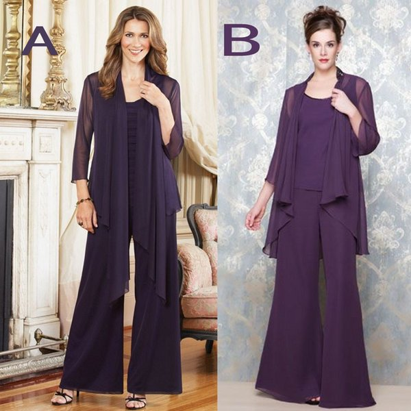 2018 New Elegant Regency Scoop Mother's Pants Suits Plus Size 3 Pieces With Jacket Long Sleeve Chiffon Evening Gowns Formal Party Dress
