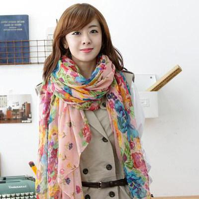 Prix de promotion !!! Foulard coréen en mousseline de soie Rural imprimé floral Georgette Echarpes Foulards en soie Châle 170x90cm pour femmes