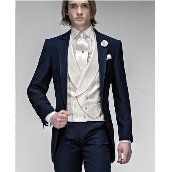Morning Style Navy Blue Groom Tuxedos Best Man Peak Lapel Groomsmen Men Wedding Suits Bridegroom Men Suits (Jacket+Pants+Vest)