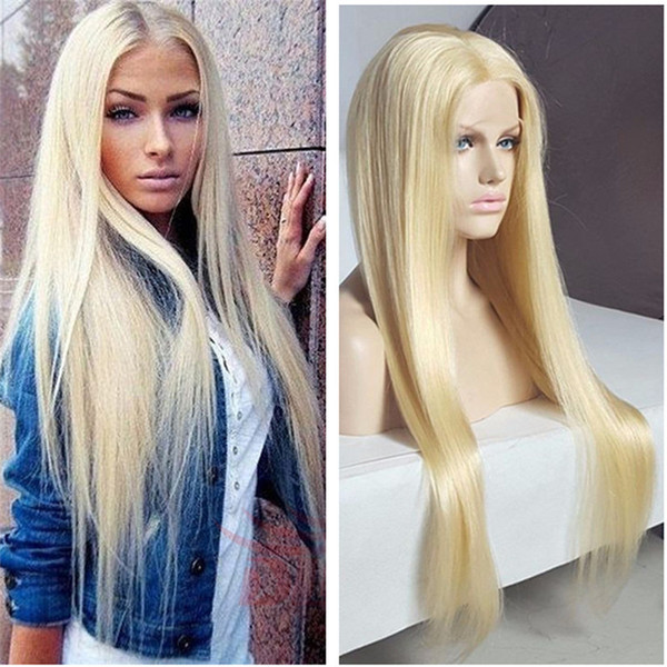 Full Lace Human Hair Wigs Lightest Blonde 613 Peruvian Hair Straight Gluless Lace Front Human Hair Wigs for Black White Women