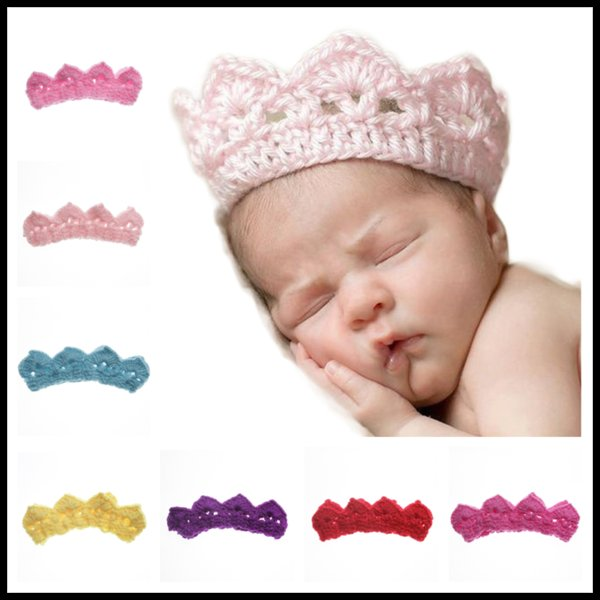 Crown Shaped Wool Crochet 7 Colors Knit Hairband Winter Warm Hat Infant Headband Newborn Birthday Gifts Photography Props