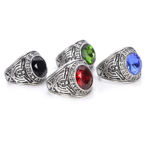 316L Antique Stainless Steel Rings Punk Ring Gothic American Soldiers Gem Titanium Army Rings for Men