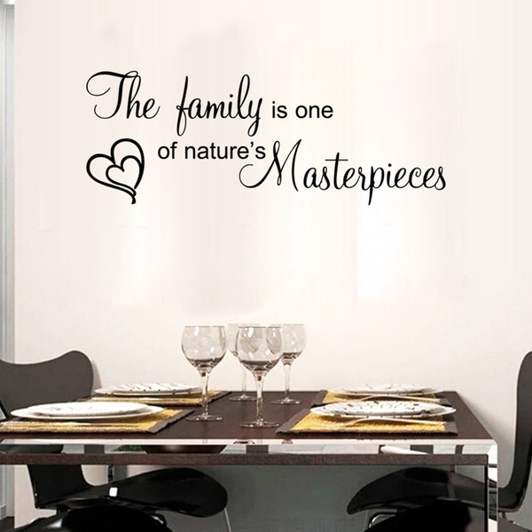 The family is one of nature's masterpieces wall quote decal stickers lettering heart balls wall art murals words art graphics