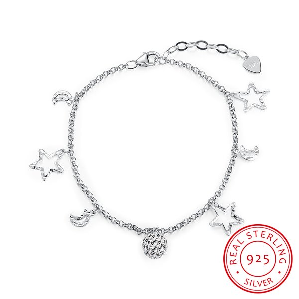 Real 925 sterling silver bracelet , 925 silver pendant bracelets , top selling mark 925 bracelets women's bracelets free shipping h006