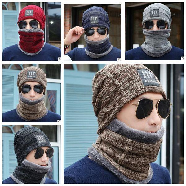 Unisex Trendy Cappelli Invernali Beanie lavorato a maglia Slouchy Berretti Skull Fashion Leisure Beanie Neckerchief Wool Winter Hat 2 pezzi Set KKA3345
