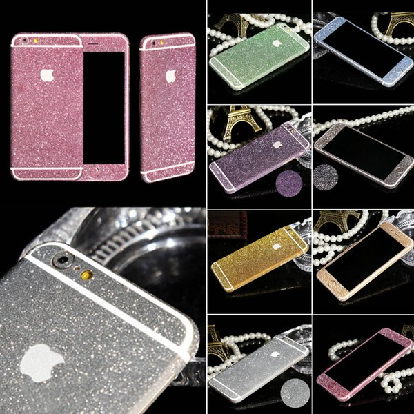 Wholesale-New Arrival Full Body Glitter for iPhone 5 5S Shiny Phone Sticker Case Gold Sparkling Diamond Film Decals Matte Screen Protector