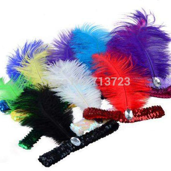 Al por mayor-12pcs / lot Feather Headband 1920's Flapper Lentejuelas Charleston Costume Diadema Band Party Avestruz Pluma Tocado