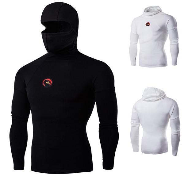 Homens super elásticos camisetas ninja roupas homens, máscara de capuz kung fu roupas homens, manga longa t-shirt homens máscara emblema do dragão