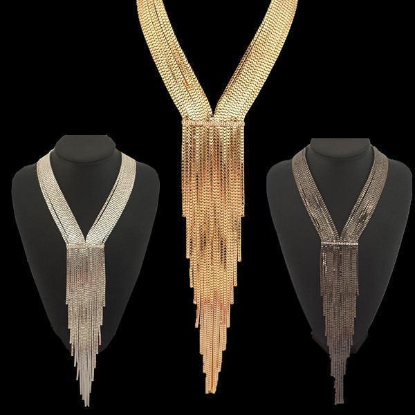 Yeni Tasarım Moda Rhinestones Zincir Yaka Kadın Abiye Takı Uzun Kolye Bildirimi Aksesuarları # 2689