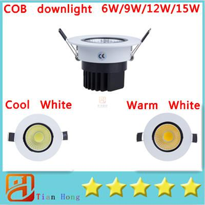 top popular Dimmable Recessed led downlight cob 6W 9W 12W 15W dimming LED Spot light led ceiling lamp AC 110V 220V+ce rohs 2019