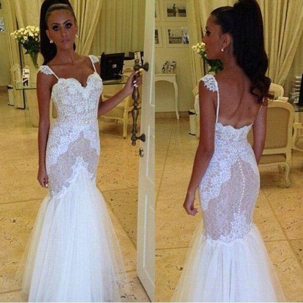 2015 Glamorous Lace Mermaid Wedding Dresses Spaghetti Straps Covered ...