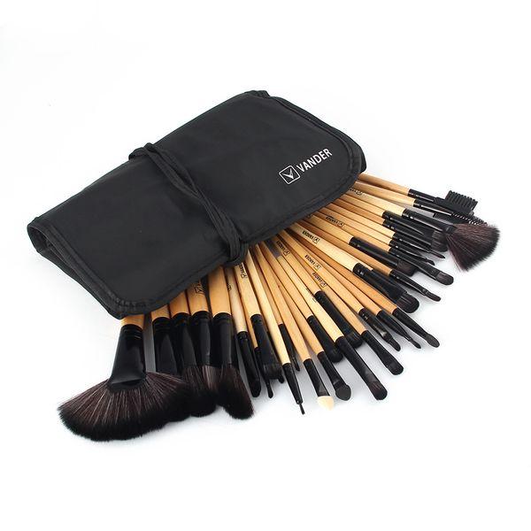 A +Beautiful Pro Vander 32pcs Brushes Set Tools Foundation Face Eye Powder Blusher Cosmetics Makeup Brush Kits Collections +Bag