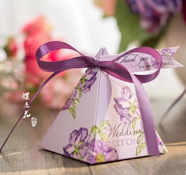 100 Pcs European style romantic Pink Purple Pearl paper pyramid Wedding box Candy Box gift boxs wedding favour boxes TH141