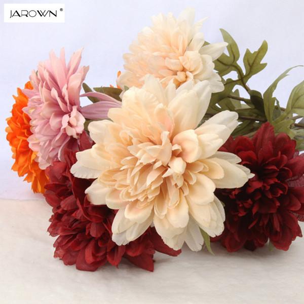 Jarown Artificial Dahlias Flower Silk Flowers Bouquet Decorative Artificial Plants For Wedding Table Party Decoration Accessory