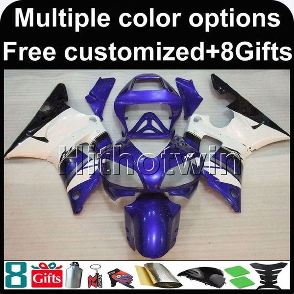 Cubierta de motocicleta BLANCA 23colors + 8Gifts azul para Yamaha YZF-R1 1998-1999 98 99 YZFR1 1998 1999 98-99 Carenado de plástico ABS