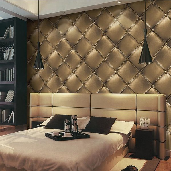 Free-shipping 2015 high quality 3d faux leather wallpaper vintage ...