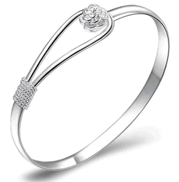 10PCS 925 plata del pun ¢ o de la placa de la joyería hecha a mano pura de la flor de la manera de Sakura mujeres pulseras del brazalete para la venta barata