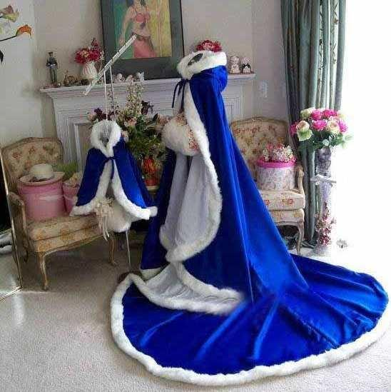 Custom Made 2015 New Arrival Stunning Royal Blue Long Winter Bridal Capes Wedding Cloaks Faux Fur Winter Wedding Warm Bridal Cloaks