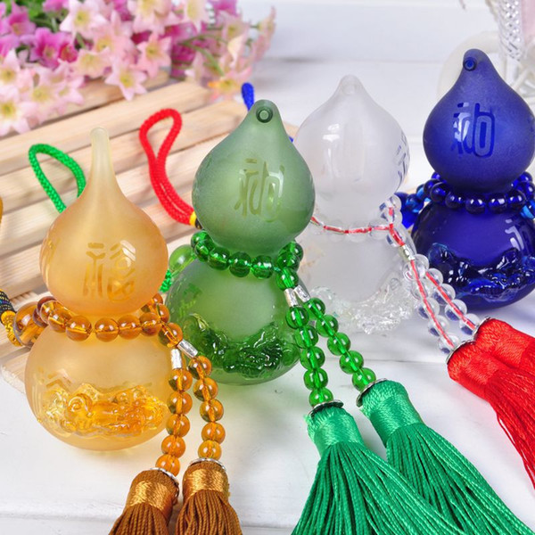 Color Glass Brave Troops Gourd Perfume Pendant Fashion Car Hanging Accessories Air Freshener Vials Interior Decorations Birthday Gift SK386