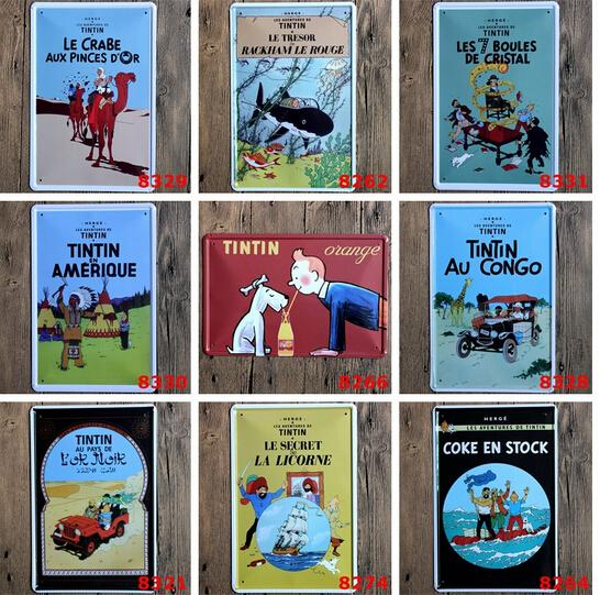 hot new 2018 classic cartoon Le avventure di Tintin TINTIN Targa in metallo Coffee Shop Bar Ristorante Decorazione di arte della parete Bar Metal Paintings