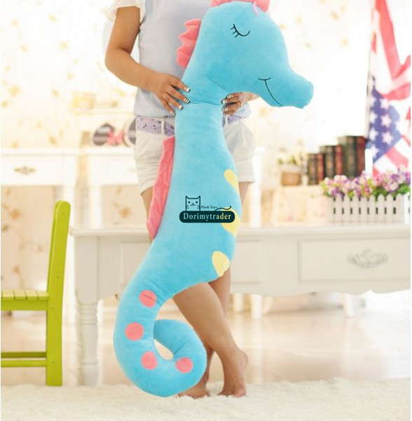 Dorimytrader 63'' / 160cm Giant Hippocampus Stuffed Soft Plush Lovely Cartoon Sea Horse Toy 5 Colors Nice Baby Gift Free Shipping DY60911