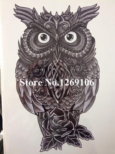 Wholesale- Cute OWL Hot Sale21 X 15 CM Temporary Tattoo Stickers Temporary Body Art Waterproof #70
