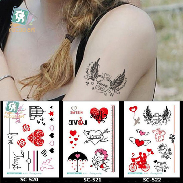 15 10 5cm Temporary Fake Tattoos Waterproof Tattoo Stickers Body Art Painting For Party Decoration Etc Mixed Lover Wing Angel Heart Custom Metallic