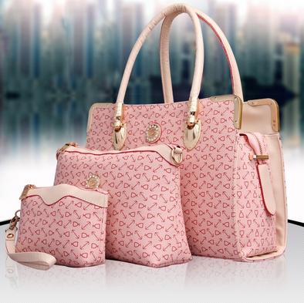 Designer Women 3PCS Set Fashion Bags Ladies Handbag Sets Leather Shoulder Office Tote Bag Cheap Womens Shell Handbags Pink 4 Color For Sale