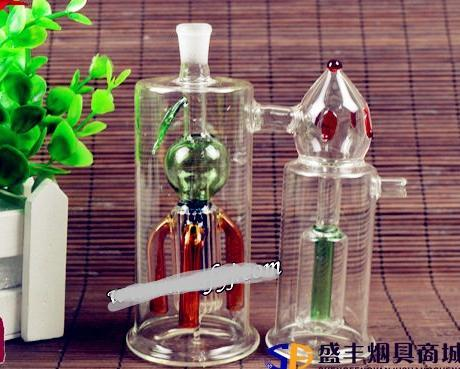 Free shipping wholesale Hookah - Hookah glass pot Siamese twins [strawberry color random delivery