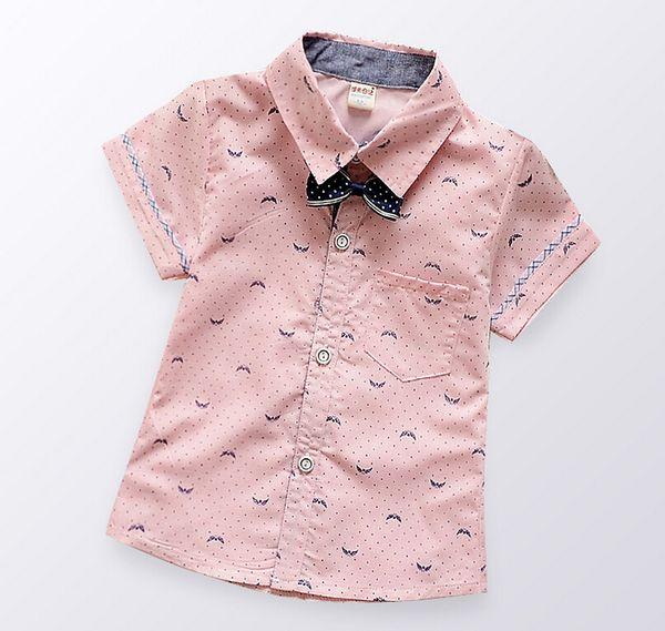 New kids shirt summer baby boys shirt children short sleeve cotton shirt kids clothing 3 colors pink,blue,green,4p/l