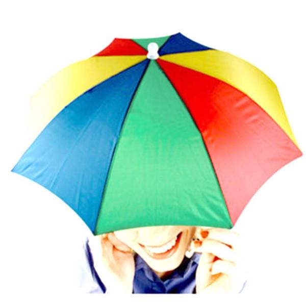 Al por mayor-Headwear MultiColor Paraguas Sombrero Cap Beach Sun Rain Fishing Camping Caza