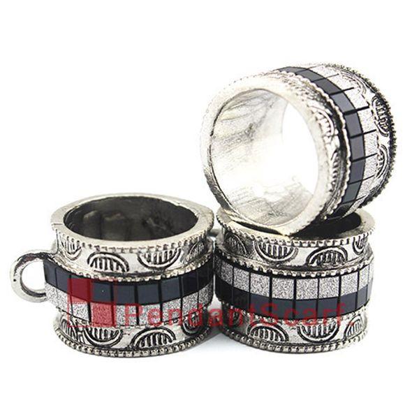 Bufanda de la joyería de moda DIY colgante, accesorios de aleación de metal, anillo del diseño del anillo negro Bufanda Slide Bails Tube, envío gratis, AC0381F