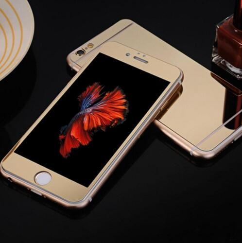 Safety Electroplate Mirror Colored 3D Gold Temper GlassScreen Protector for IPhone 8 7 6 6s Plus 5 5s Se Colorful Front and Back Free DHL