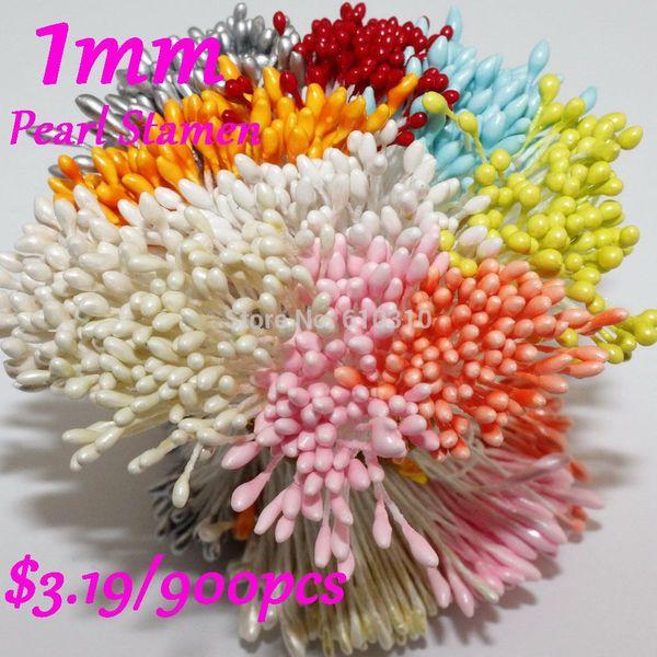 Estambre multicolor de estambre de la flor del pistilo de DIY 1 mm mezcla $ 3.99 / 900pcs estambre floral (22 colores para seleccionar)