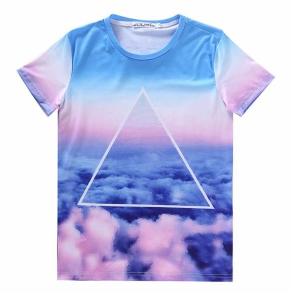 w1209 [Amy] Top hot model 3d t shirt men/women Triangle colors Clouds printed tee short sleeve casual tshirt LY342 free shipping
