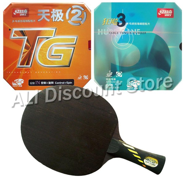 Wholesale- Galaxy Yinhe MC-2 Blade with DHS NEO Hurricane 3 and NEO Skyline TG2 Rubbers for a Table Tennis Combo Racket FL