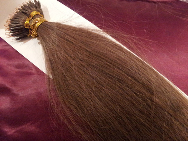 "DHL Free shipping 100% Indian human queen products 5A 14""- 24"" 1g/s 100s/set stick tip nano ring hair extensions 8# light brown"