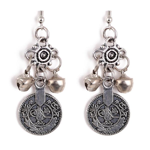 Monili d'argento etnici tribali di festival della collana della moneta di Bell del turchese degli orecchini della moneta campana d'argento