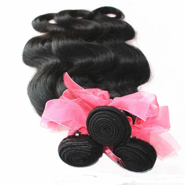 7А Необработанные Бразильские Малайзийские Индийские Перуанские Плетение Волос 10-18 дюймов Натуральный Цвет Объемной Волны 1 пучок / лот 100% Наращивание Уток Человеческих Волос